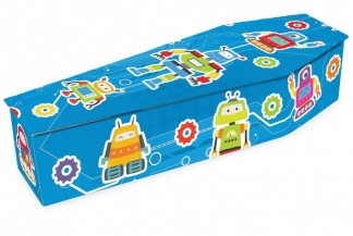 photo of a children's robot coffin