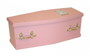 photo of a pink coffin