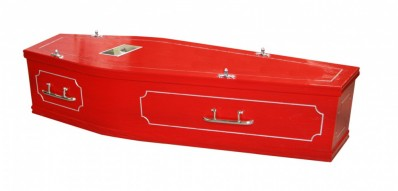 photo of a red coffin