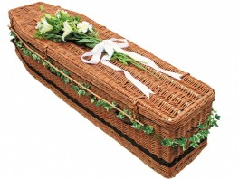 photo of a wicker coffin in Manchester