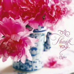 Roses in vase thank you card