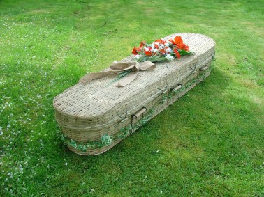 photo of an oval seagrass coffin in Manchester