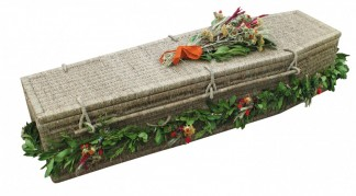 photo of a seagrass coffin in Bury Lancs