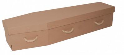 photo of a simple cardboard coffin