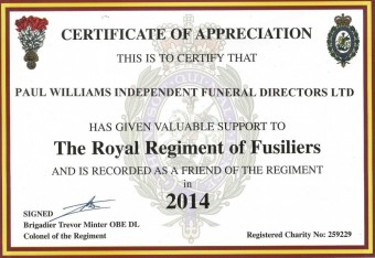 Certificate from the Royal Regiment of Fusiliers 2014