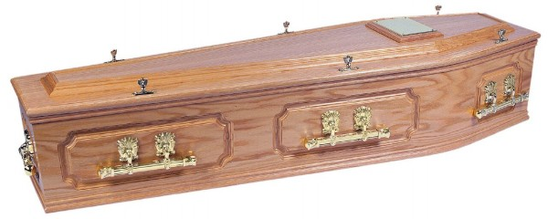 Light oak coffin with bar handles